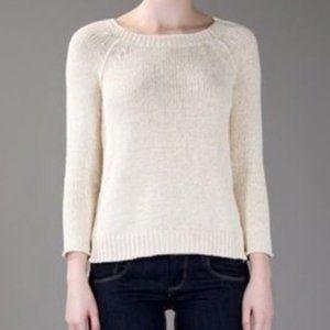 VINCE Cream Knit Raglan Sweater Scoop Neck